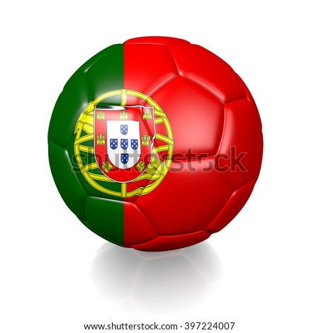 3D rendering of a football soccer ball colored with the flag of Portugal isolated on a white background