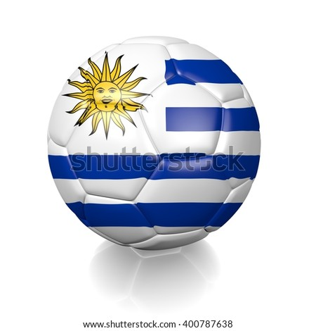 3D rendering of a football soccer ball colored with the flag of Uruguay isolated on a white background