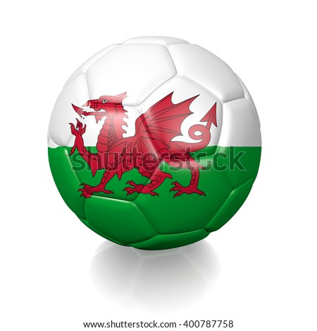 3D rendering of a football soccer ball colored with the flag of Wales isolated on a white background