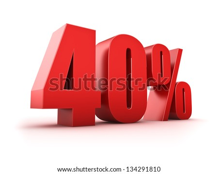 3D Rendering of a forty percent symbol - stock photo