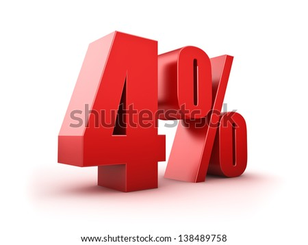 3D Rendering of a four percent symbol - stock photo