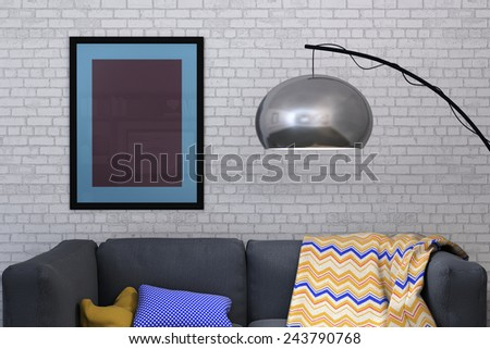 3D rendering of a framed picture against white painted brick wall of a domestic room home interior - stock photo
