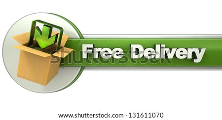 3D rendering of a free delivery concept banner - stock photo