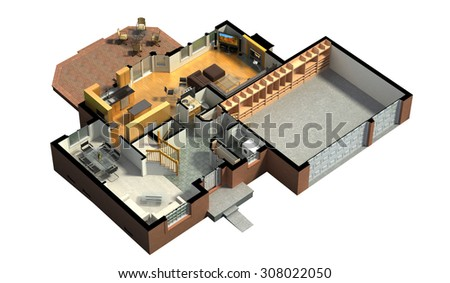 3D rendering of a furnished residential house, with the first floor plan, showing the living room, dining room, foyer, terrace and garage - stock photo