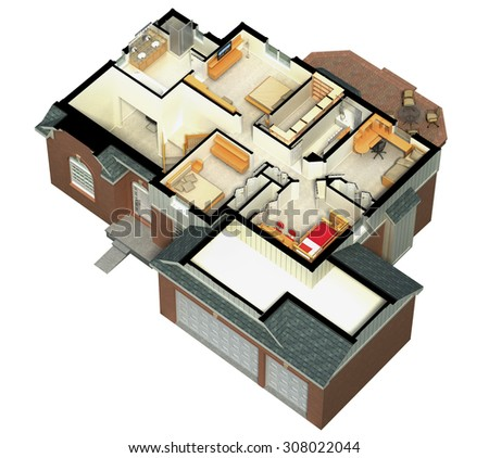 3D rendering of a furnished residential house, with the second floor, showing the staircase, bedrooms, bathrooms and walk-in closets and storage. - stock photo