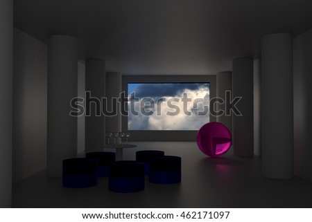 3D rendering of a futuristic room: view to a cloudy sky