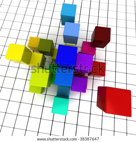 3D rendering of a geometric cubic background