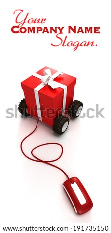 3D rendering of a gift box on wheels connected to a computer mouse - stock photo
