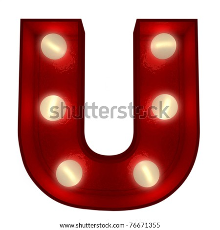 3D rendering of a glowing letter U ideal for show business signs