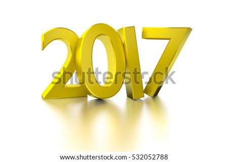 3d rendering of a golden happy new year 2017