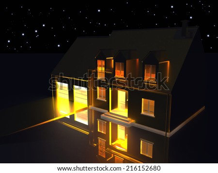 3D rendering of a golden house on reflecting silver ground at night. - stock photo