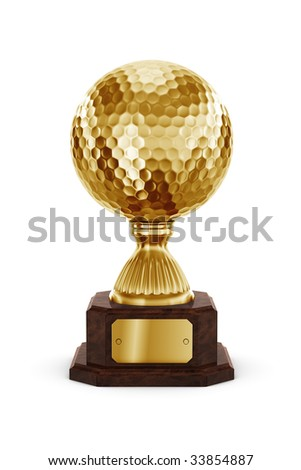 3d rendering of a golf trophy in gold - stock photo