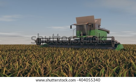 3d rendering of a grain combine  in the field - stock photo