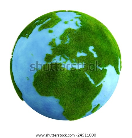 3d rendering of a grass earth with water - Europe