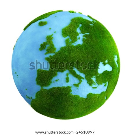 3d rendering of a grass earth with water - Europe closeup