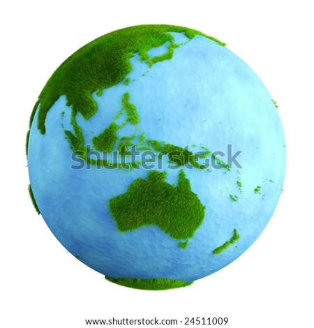3d rendering of a grass earth with water - Western Central Pacific