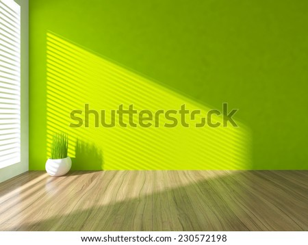 3D rendering of a green empty interior  - stock photo