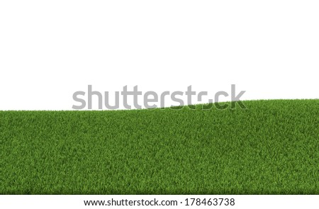 3d rendering of a green field. White background - stock photo