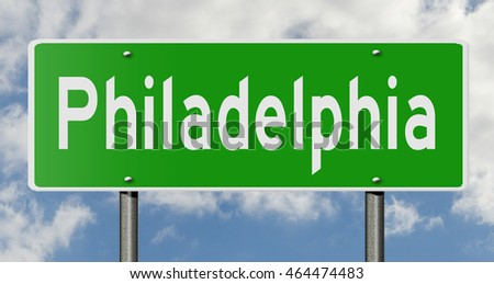 3d rendering of a green highway sign for Philadelphia
