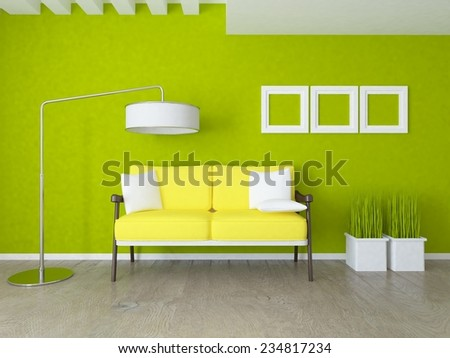 3D rendering of a green interior - stock photo