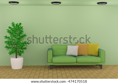 3D rendering of a green living room with a sofa and plant