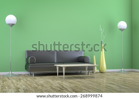 3D rendering of a green room with a sofa and background for your own content - stock photo