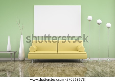 3D rendering of a green room with a yellow sofa - stock photo