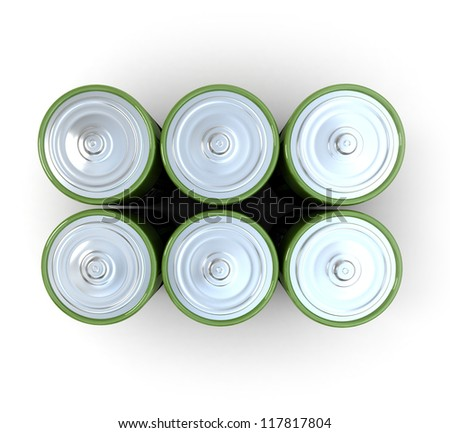 3D rendering of a group of alkaline battery