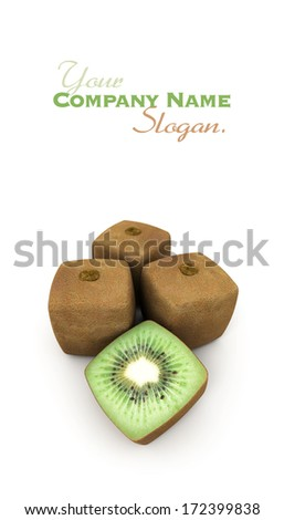 3D rendering of a group of cubic kiwis  - stock photo