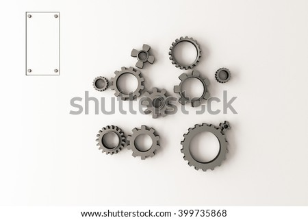 3D rendering of a group of gears isolated on white background