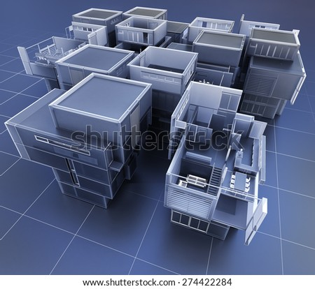 3D rendering of a group of professional buildings - stock photo