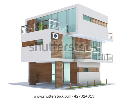 3D Rendering of a Home exterior isolated on white background.