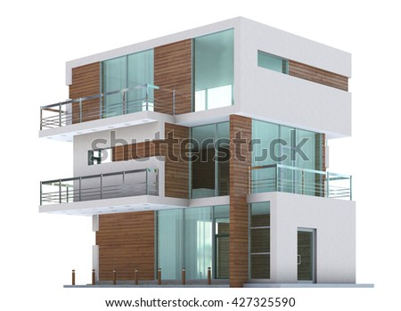 3D Rendering of a Home exterior isolated on white background. - stock photo