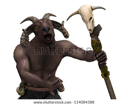 3d rendering of a horned creature with Fantasy Warrior staff as an illustration - stock photo