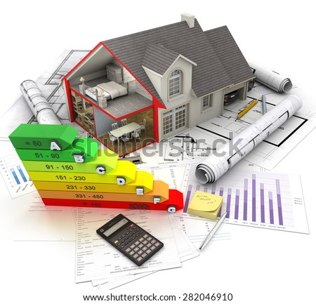 3D rendering of a House exterior with cross section showing home interior, an energy efficiency charts and blueprints - stock photo