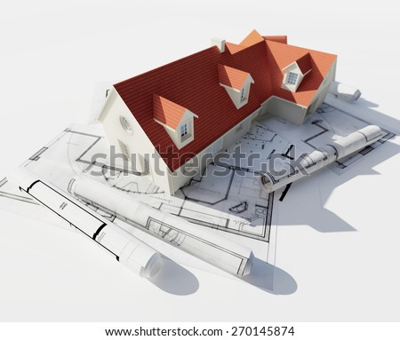3D rendering of a house on top of blueprints - stock photo