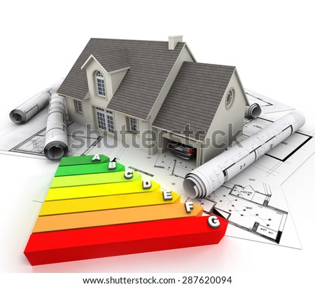 3D rendering of a house on top of blueprints, with an energy efficiency rating chart - stock photo