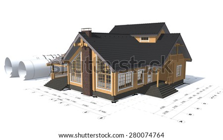 3D rendering of a house project on top of blueprints - stock photo