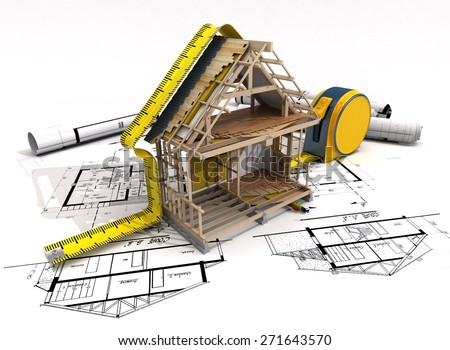3D rendering of a house under construction with full technical details on top of blue prints, and a measuring tape