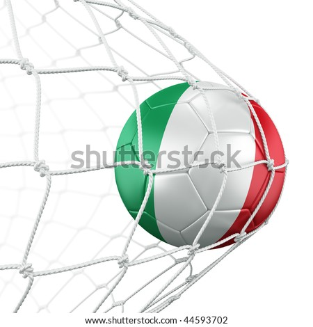3d rendering of a Italian soccer ball in a net - stock photo