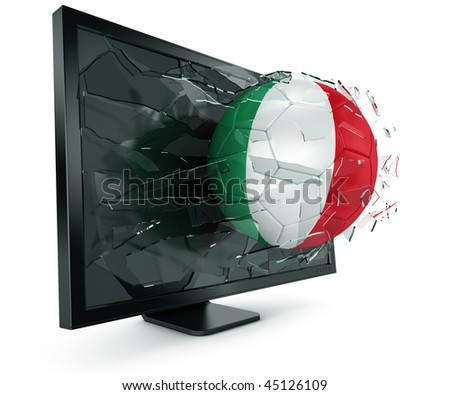 3d rendering of a Italian soccerball breaking through monitor - stock photo