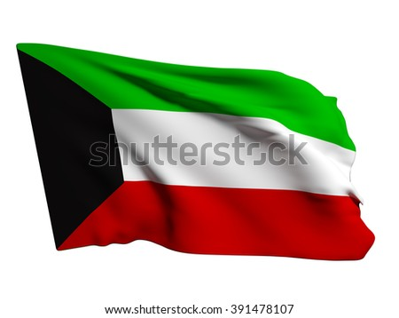 3d rendering of a Kuwait flag on a white background