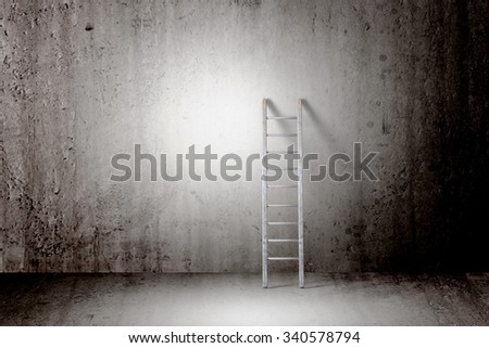 3d rendering of a ladder into a concrete wall, concept of growth and progress