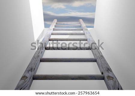 3d rendering of a ladder into a hole, concept of growth and progress - stock photo