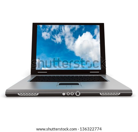 3D rendering of a laptop computer with a sky with clouds on the screen