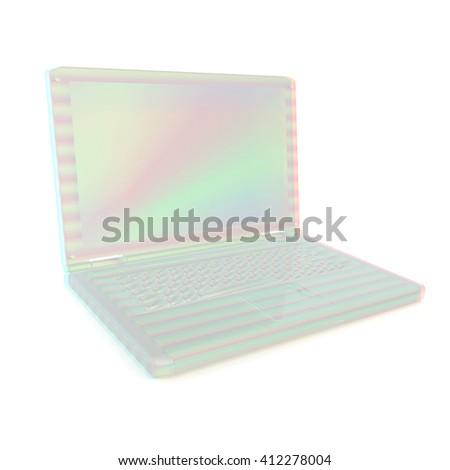 3d rendering of a laptop. 3D illustration. Anaglyph. View with red/cyan glasses to see in 3D. - stock photo