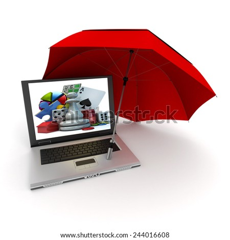 3D rendering of a laptop with games symbols on the screen, protected by an umbrella - stock photo