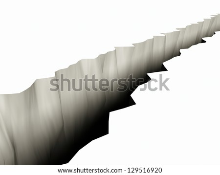 3D Rendering of a Large Rift in the Ground - stock photo
