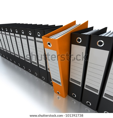 3D rendering of a line of office ring binders with one sticking out - stock photo