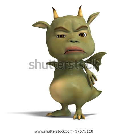 3D rendering of a little green cute toon dragon devil with clipping path and shadow over white